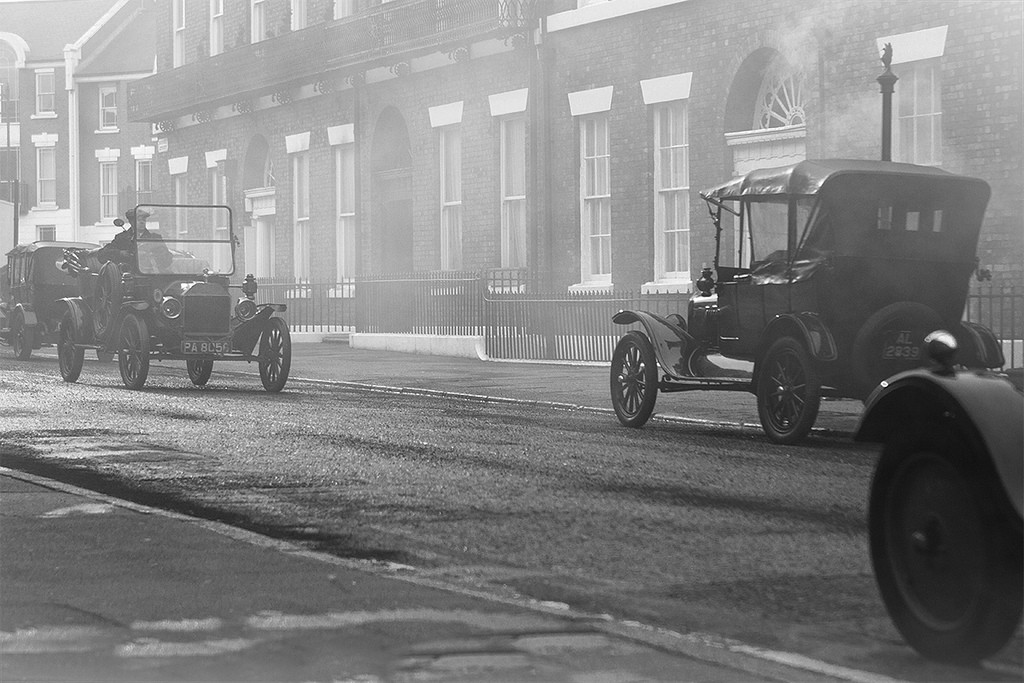 Vintage cars on the Peaky Blinders set