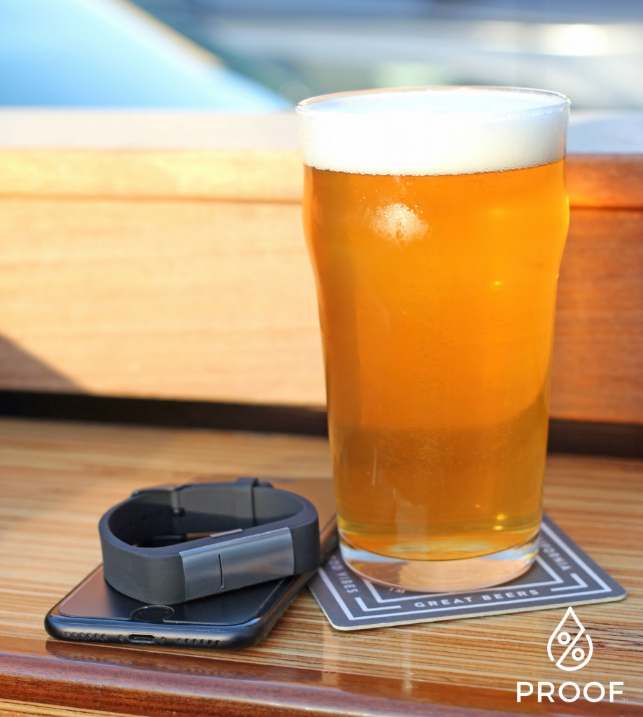 The Proof device. And a beer.   Courtesy Milo Sensors.