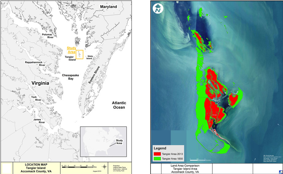 Figure 1: Location and configuration of the Tangier Islands, in Virginia waters of Chesapeake Bay, USA. | © Nature.com