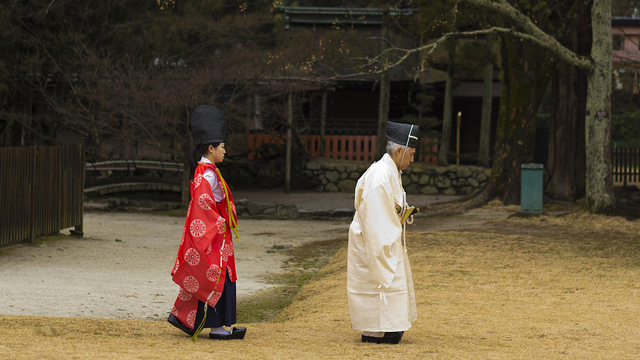 Shinto priest and priestess at Kamigamo Jinja Shrine