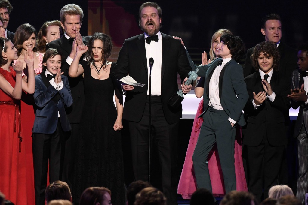 The cast of Stranger Things critiscised Trump's Travel Ban while accepting their SAGS award © ddp USA / REX / Shutterstock