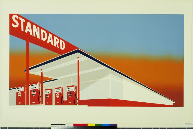 A gas station takes on the clean white and red lines of a pop artist's print