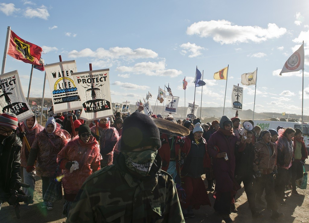 Protesters marching at Standing Rock