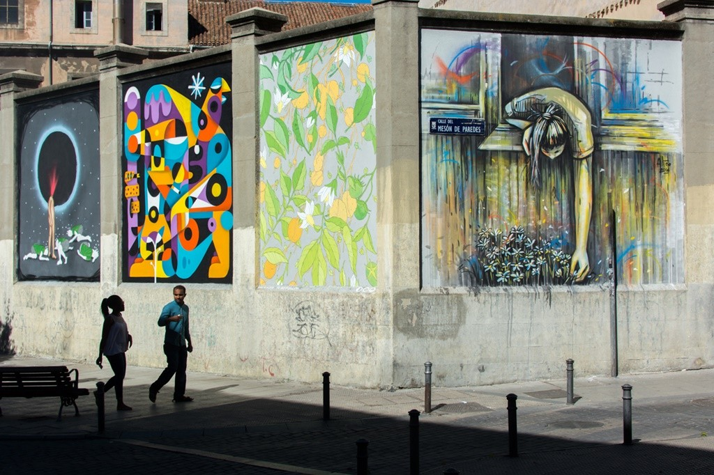 Some murals on Calle Meson de Paredes | © Guillermo de la Madrid / Madrid Street Art Project