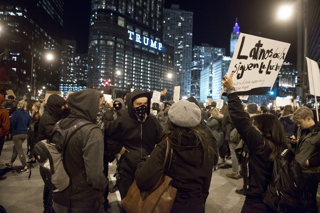 Protesters gather around Trump Tower following the presidential election