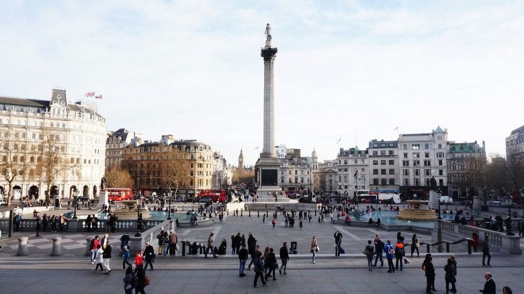 A shot of Trafalgar Square from a distance