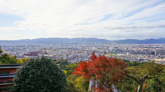 Panoramic views of Kyoto from Fushimi Inari Taisha Shrine