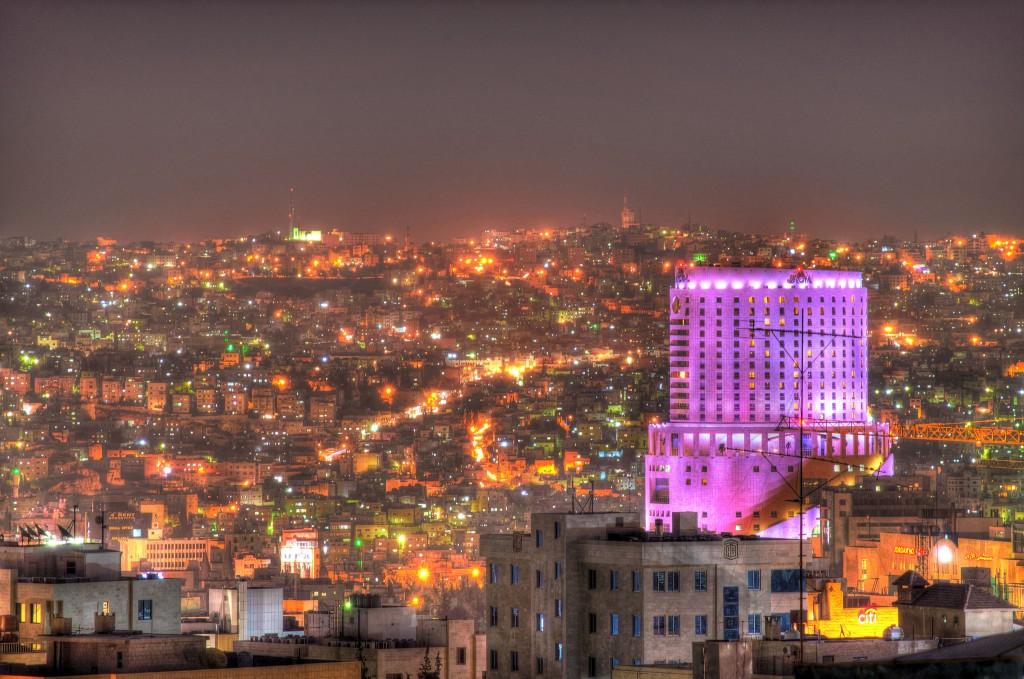 Colorful Lovely Lights of Amman © Mahmood Salam