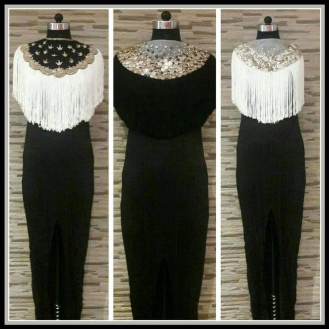 Black dress with embellished cape ©Amaaya by Rachna's Facebook page