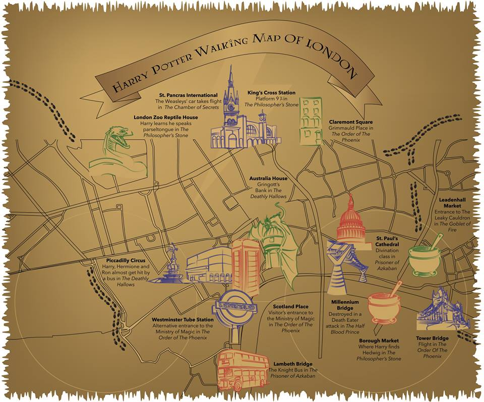 This Magical Map Shows You All The Harry Potter Locations In London - The great cauldron us map
