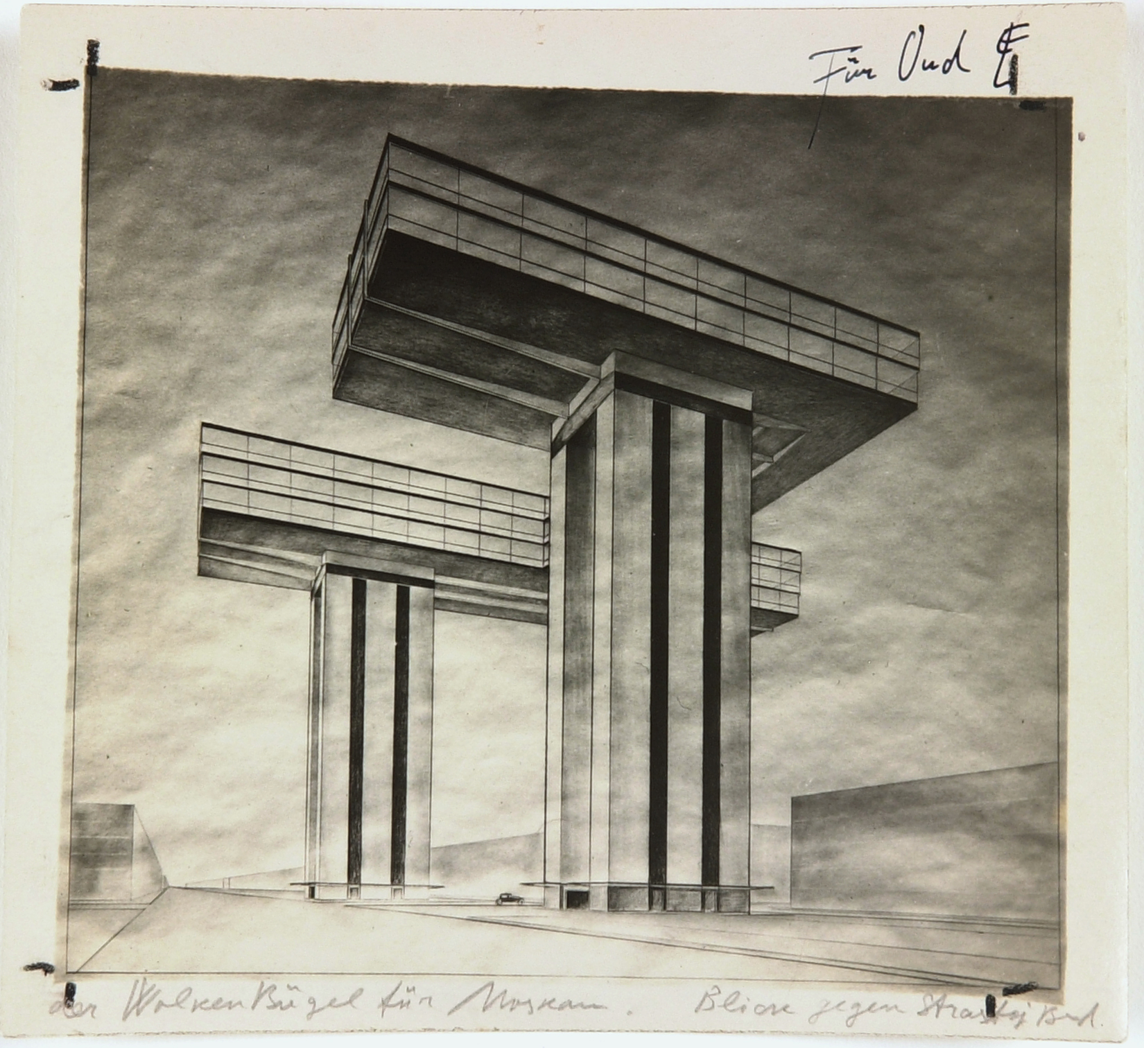 El Lissitzky, Photo by the artist of his design 'Cloud Iron. Ground Plan. View from Strastnoy Boulevard', 1925, black and white photography with annotations by the artist | © Van Abbemuseum, Eindhoven