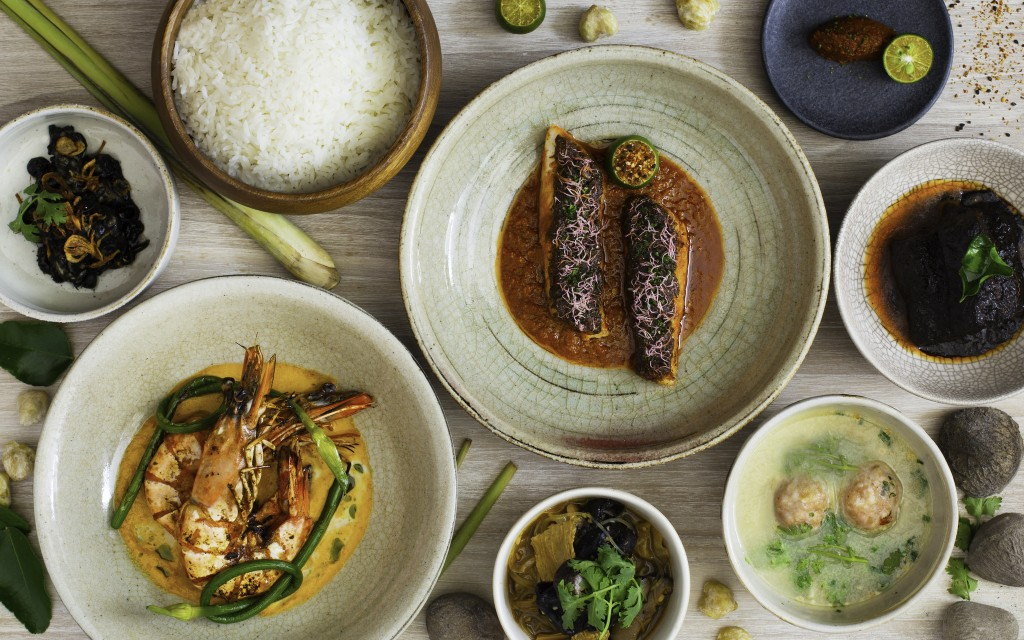 Candlenut tasting menu featuring king prawn curry, grilled fish, beef buah keluak and more | Courtesy of Candlenut