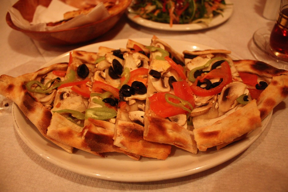 A close up of pide