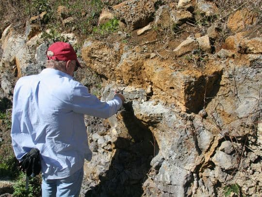 Prof. Lewis D. Ashwal studies an outcropping of trachyte rocks in Mauritius. © Prof. Susan J. Webb, University of the Witwatersrand