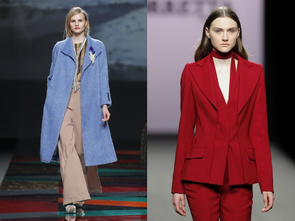 Ailanto (left) adds a lighter touch with a periwinkle coat whereas Roberto Torretta (right) goes bold with red | © Foto Ugo Camera/IFEMA