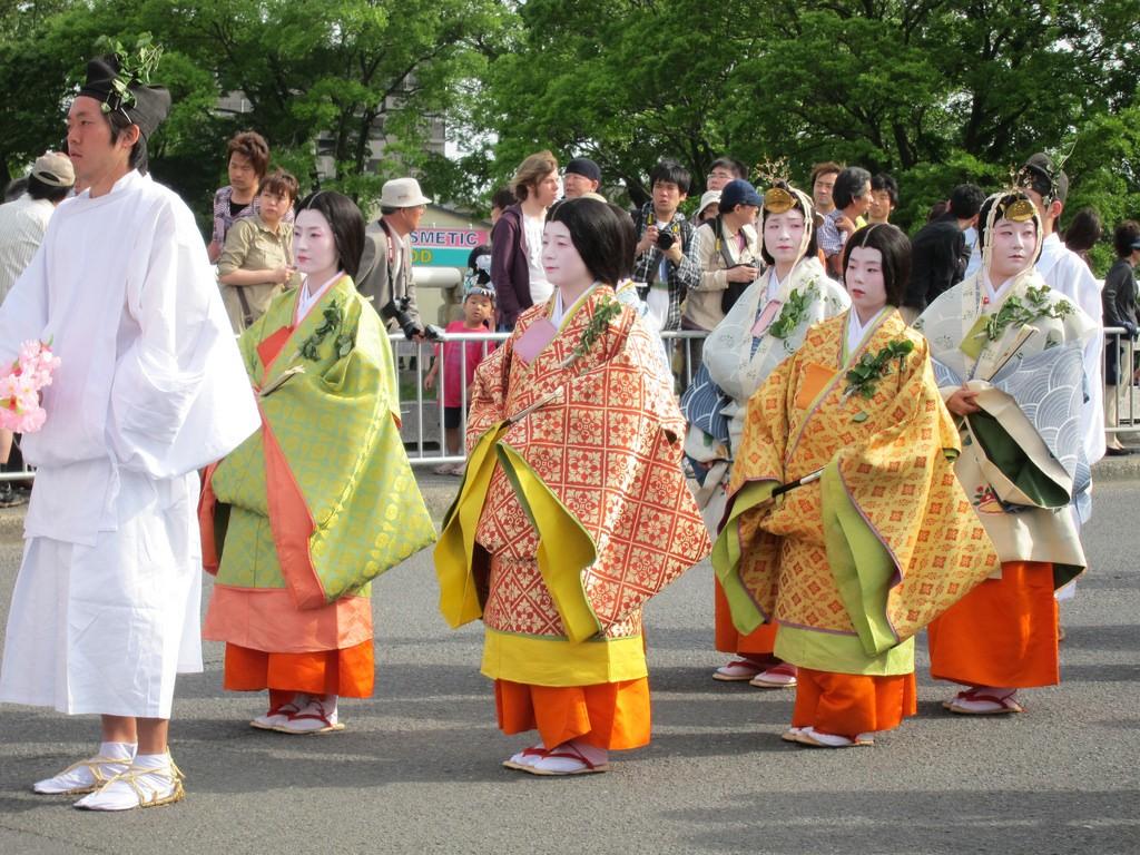 The Aoi Matsuri in Kyoto features traditional aristocratic costumes