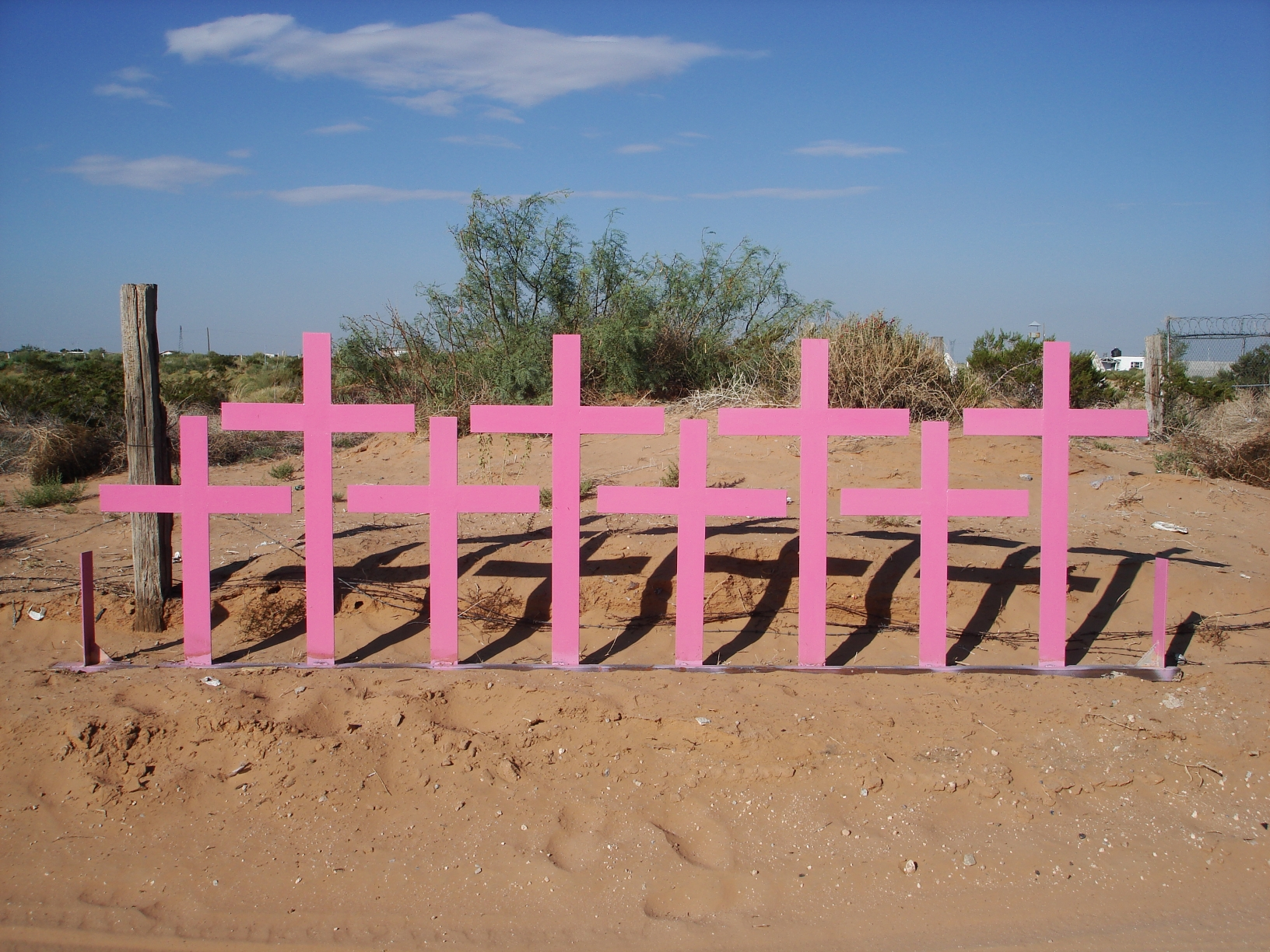 Crosses marking the mass grave of femicide victims in Chihuahua   Creative Commons