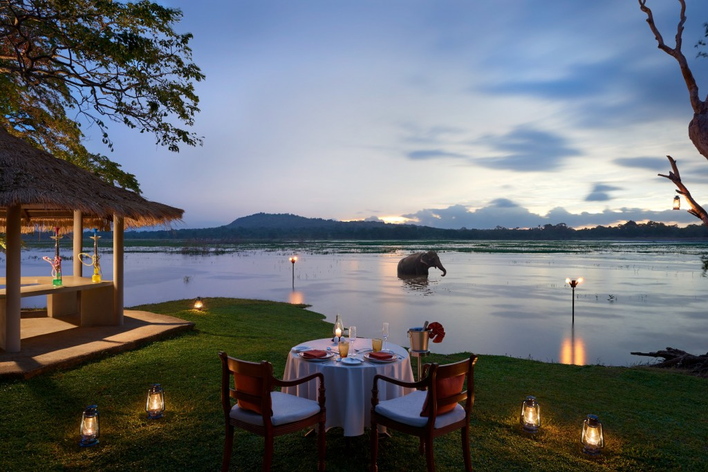 A idyllic intimate private dinner setting in the wild by the lake at Habarana Village by Cinnamon. |© Courtesy of Cinnamon Hotels
