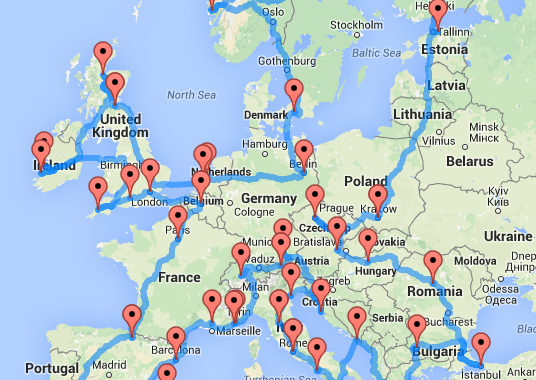 Europe Map.This Map Shows The Quickest And Ultimate Road Trip Across Europe