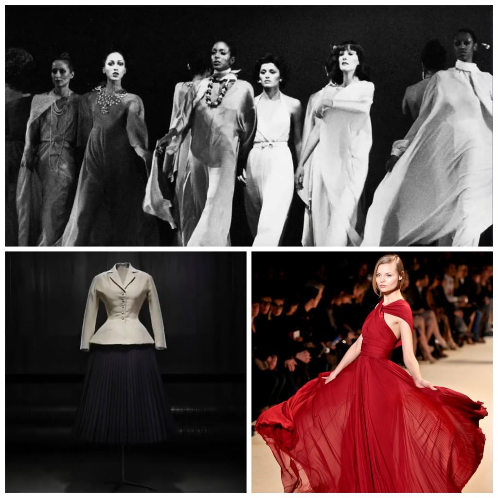 "<span style=""color: #808080;"">Still from 'Versailles '73 - American Runway Revolution' │ Courtesy of FilmBuff </span>Movies ;<span style=""color: #808080;""> Still from 'Dior Stories - The New Look' │ Courtesy of </span>FasionTV ;<span style=""color: #808080;""> Magdalena Frackowiak at Elie Saab, Paris Fashion Week Fall 2011 │© Simon Ackerman / WikiCommons</span>"