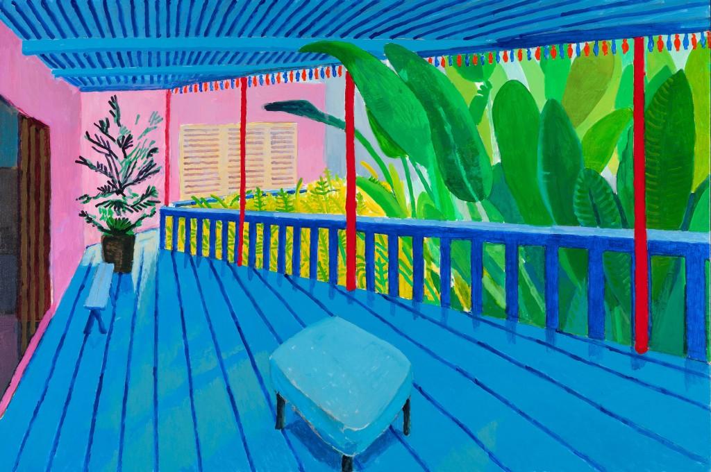 """""""Garden with Blue Terrace"""" 2015 © David Hockney. Photo Credit: Richard Schmidt"""