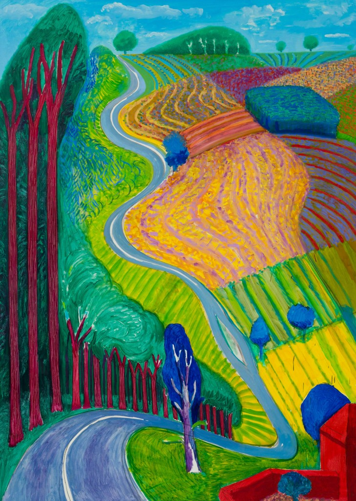 David Hockney, Going Up Garrowby Hill, 2000. © David Hockney. Photo Credit: LA Louver, Venice, CA