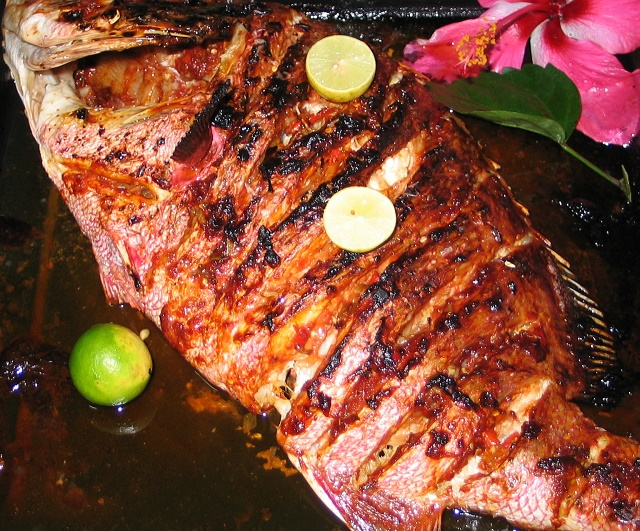 Grilled Red Snapper known locally as Bourzwa | ©Joe Laurence, Seychelles News Agency