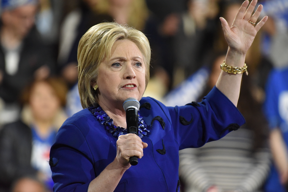 Hillary Clinton affirmed her status as front-runner for the Democratic presidential nominations with a speech at Jacob Javits Center   @ a katz/Shutterstock