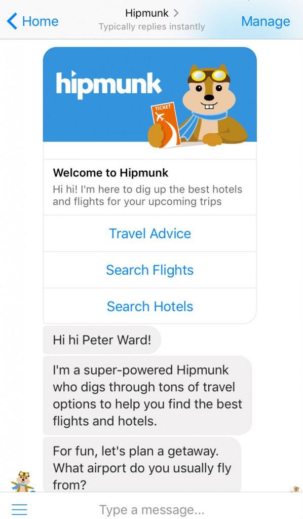 The Hipmunk bot | Courtesy Hipmunk