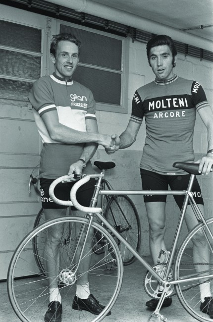 Eddy Merckx shaking hands with Joop Zoetemelk in his Molteni jersey | Courtesy of Thames & Hudson