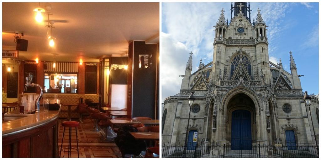 Inside the Olympic Café │ Courtesy of Olympic Café ; Église Saint-Bernard de la Chapelle │© Guilhem Vellut / Flickr