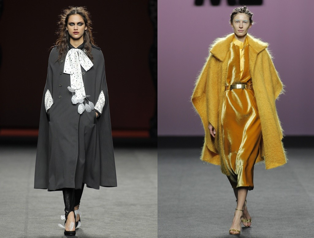 A long grey cape from Ion Fiz (left) and a yellow fur cape/coat from Marcos Luengo (right) | © Foto Ugo Camera/IFEMA