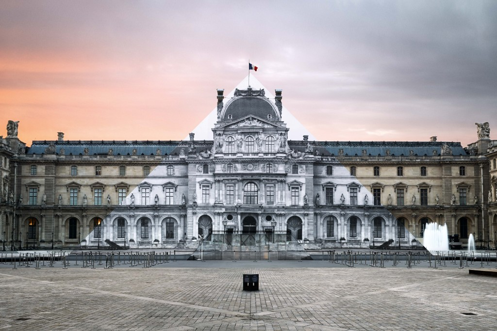 JR at the Louvre, Installation on the Louvre Pyramid, Paris - Photo credit: Fabien Barrau © JR-ART.NET / Courtesy Galerie Perrotin