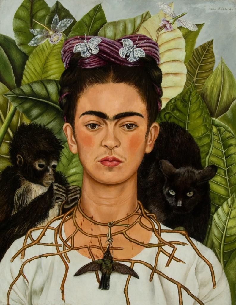 Frida Kahlo, Self-Portrait with Thorn Necklace and Hummingbird, 1940 | Courtesy Banco de México Diego Rivera Frida Kahlo Museums Trust, Mexico, D.F. / DACS / Harry Ransom Center, The University of Texas at Austin