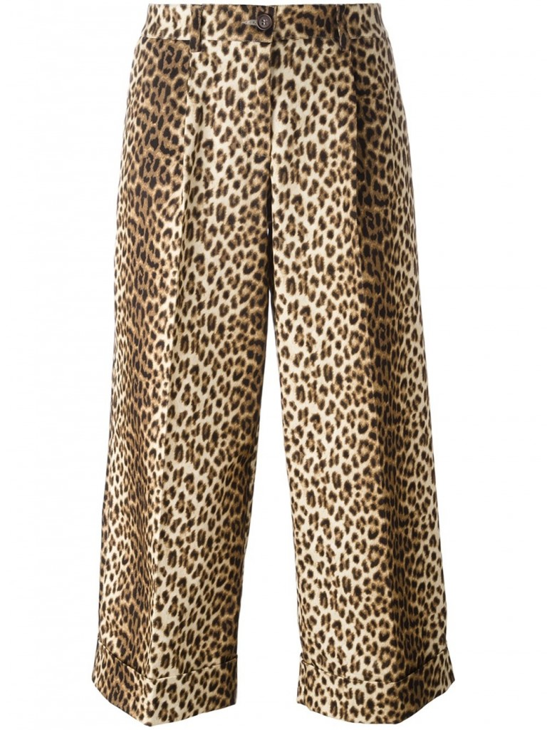 Leopard print cropped trousers by P.A.R.O.S.H. | Courtesy of Farfetch