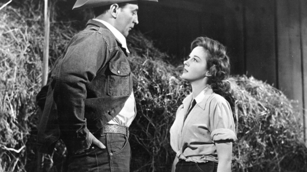 The Lusty Men (1952) Directed by Nicholas Ray Shown: Robert Mitchum (as Jeff McCloud), Susan Hayward (as Louise Merritt)