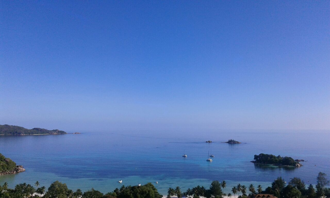 Look out onto Anse Volbert, Curieuse and St Pierre from Mango Lodge   © Image Courtesy of Mango Lodge