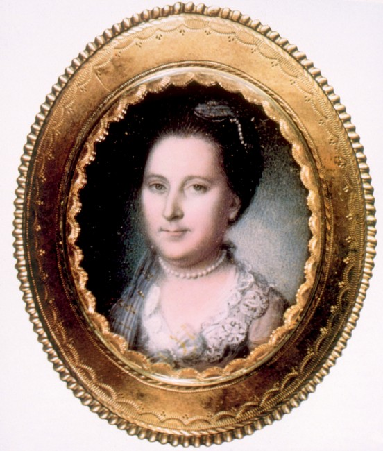 Martha Washington (1731-1802), first Lady (1789-1797), miniature portrait by Charles Willson Peale, ca. 1776   @ Everett Historical/Shutterstock