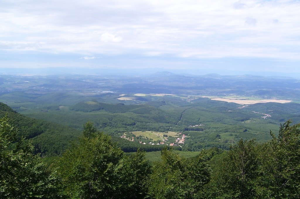 Valley view from peak Galyatető in mountain Mátra