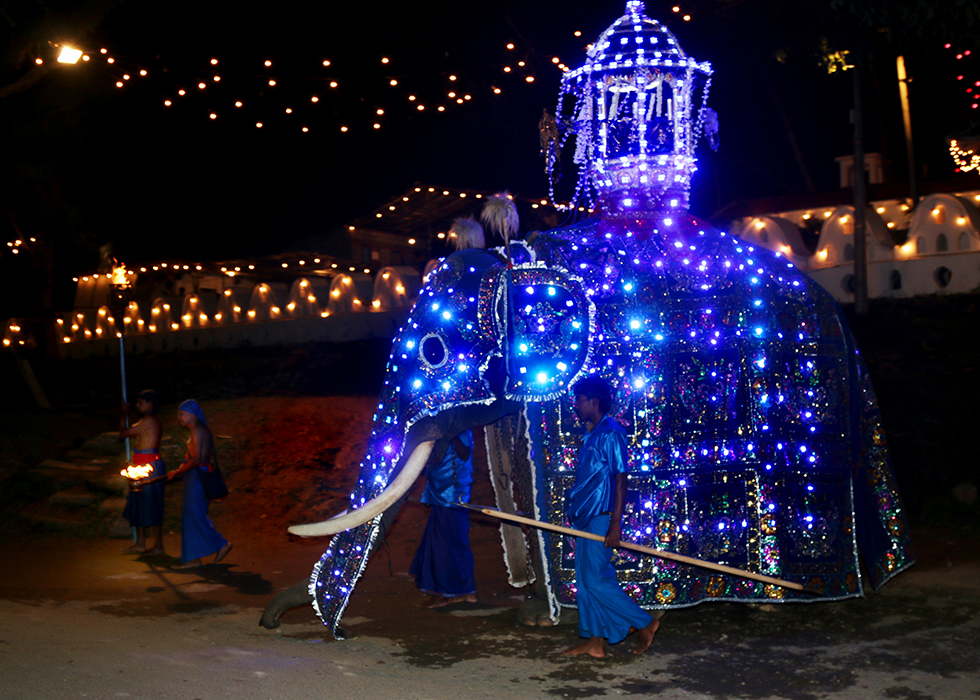 An ornately decorated elephant carrying sacred relics from the Vishnu Devale moves out at the start of the spectacular Kandy Esala Perahera | © Dennis Candy - Flickr