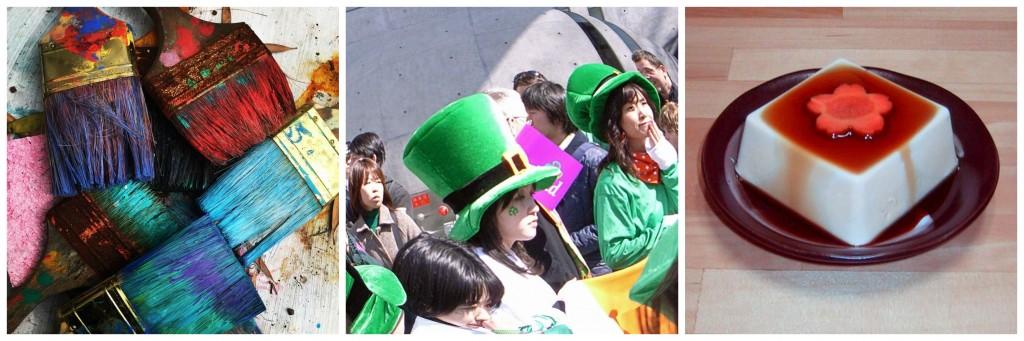 Paint brushes © Pexels / St. Patricks Day parade Omotesando © tata_ata_k / WikiCommons / Tofu © Chris 73 /WikiCommons