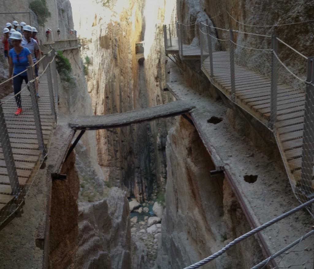 The recently-rennovated Caminito del Rey in Malaga runs just above the original path; courtesy of Encarni Novillo