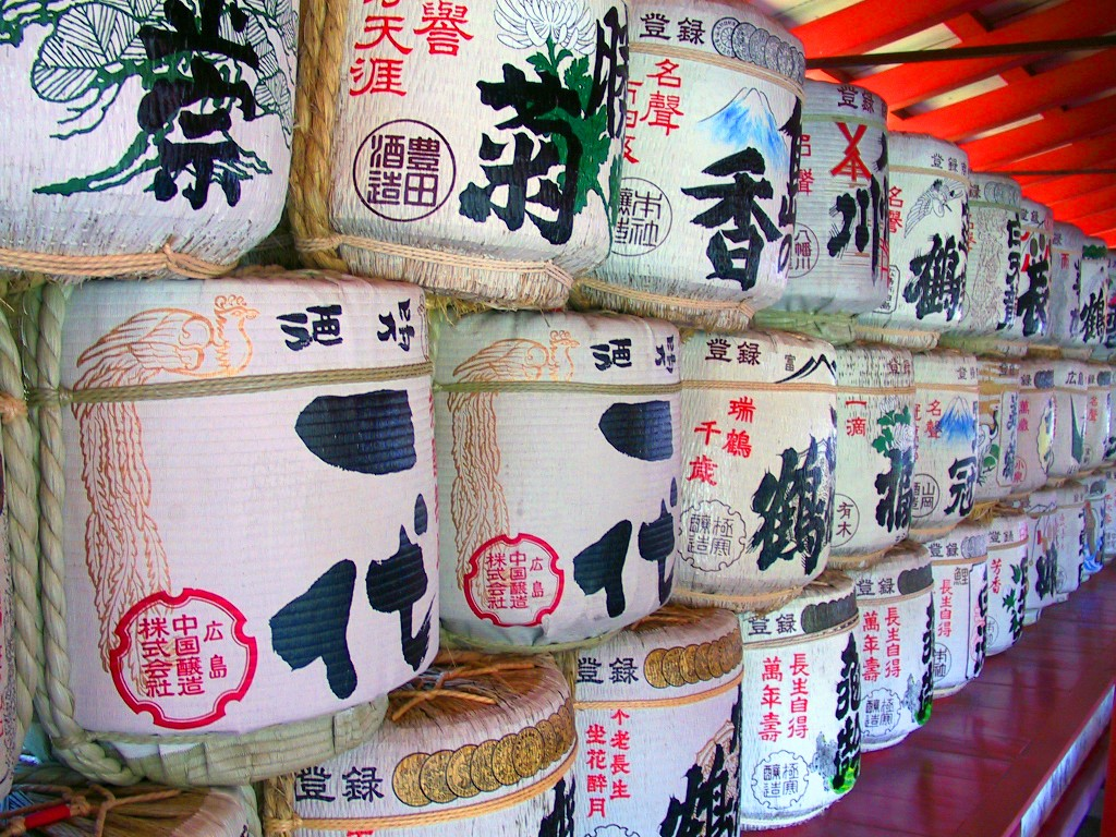 Barrels containing Japanese sake at Itsukushima Shrine.   © Rdsmith4 / Wikipedia