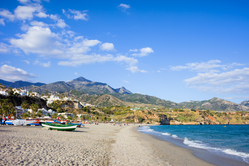 Burriana beach at the Mediterranean Sea in Nerja, Spain | © Artur Bogacki/Shutterstock