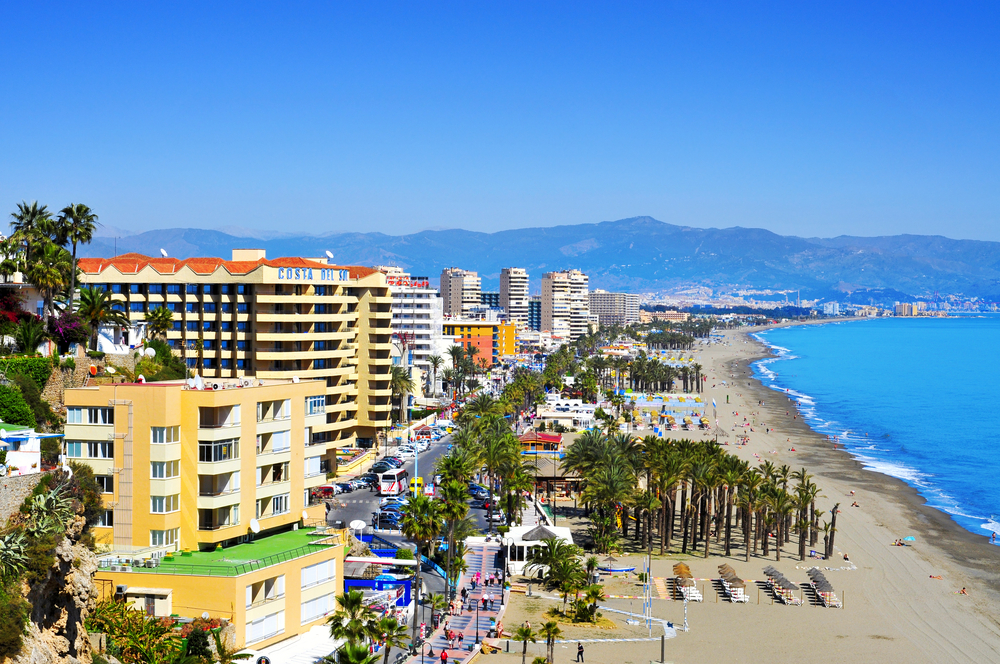 Bajondillo Beach And Ocean Front Walk On March   In Torremolinos Spain