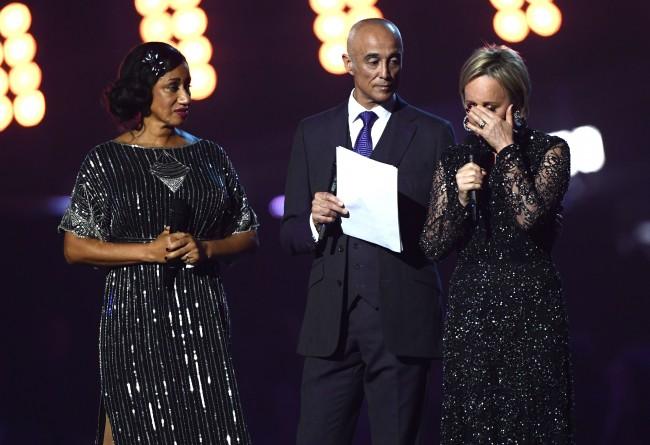 Pepsi DeMacque, Andrew Ridgeley and Shirlie Holliman get emotional | ©David Fisher/REX/Shutterstock