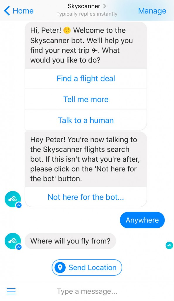 The Skyscanner Facebook bot.| Courtesy Skyscanner.