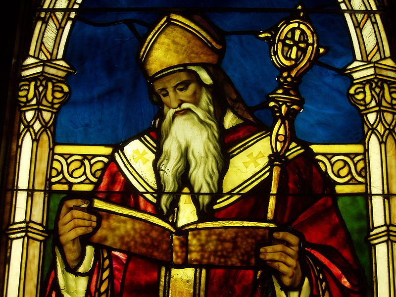 Stained-glass window of St. Augustine, in the Lightner Museum, St. Augustine, Florida. ©Daderot/Wikimedia Commons