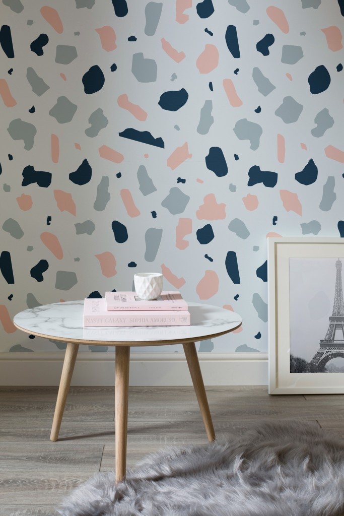 Pink and blue terrazzo wall mural, £25 per m² | Courtesy of Murals Wallpaper