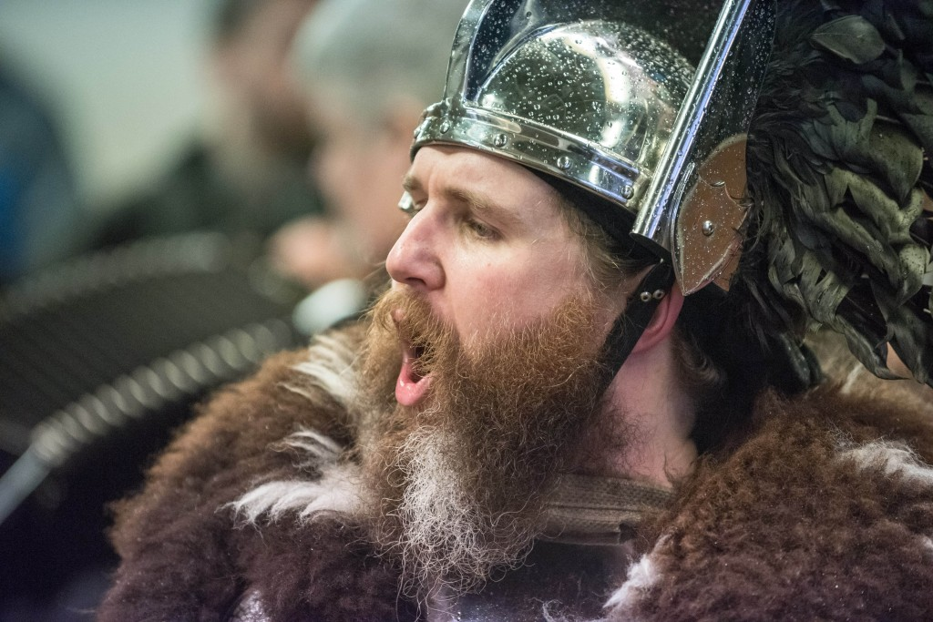 """Guizer Jarl Lyall Gair for Up Helly-Aa 2017 - Guizer Jarl Lyall Gair as """"Sweyn 'Forkbeard' Haraldsson"""" with his Galley """"Falcon"""" 31 Jan in Lerwick, Shetland The Jarl Squad at the Market Cross, Lerwick for Up Helly-Aa 2017 